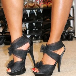Shoes - Black tulle high heels